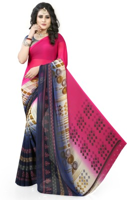 Gaurangi Creations Geometric Print Daily Wear Georgette Saree(Pink, Dark Blue)