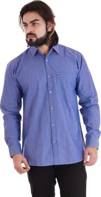 VINTAGE LOOK Men's Solid Casual Blue Shirt