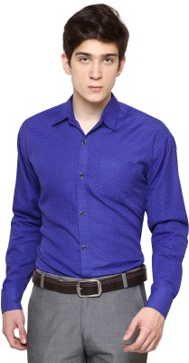 The Mens Stop Men's Polka Print Casual Dark Blue Shirt