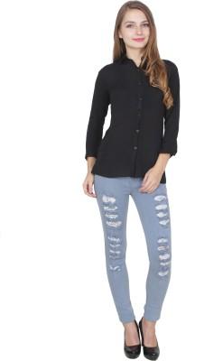 Shyammc Women Solid Casual Black Shirt Shyammc Women's Shirts