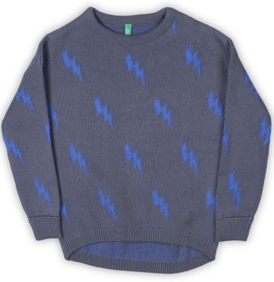 United Colors of Benetton Self Design Crew Neck Casual Girls Blue Sweater at flipkart