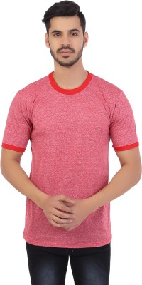 Styleinsta Self Design Men's Round Neck Red T-Shirt