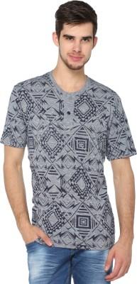 HARBOR N BAY Printed Men Henley Grey T-Shirt