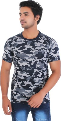 Styleinsta Military Camouflage Men Round Neck Multicolor T-Shirt