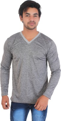 Styleinsta Self Design Men V-neck Grey T-Shirt