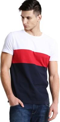 5f8af5a6e3c8e9 39% OFF on Sarfira Striped Men Round Neck White, Red, Blue T-Shirt ...