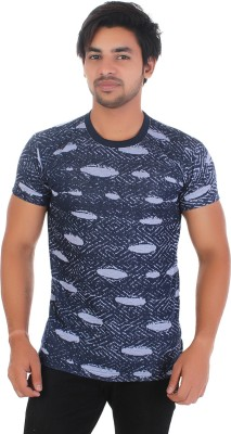 styleinsta Printed Men Round Neck Blue T-Shirt