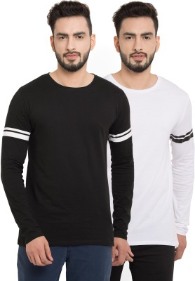 Billion PerfectFit Solid Men Round or Crew White, Black T Shirt Pack of 2