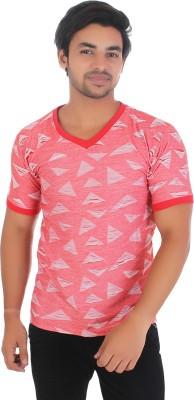 Fairdeals Printed Men V-neck Red T-Shirt
