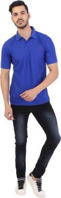 Styleinsta Solid Men's Polo Neck Blue T-Shirt