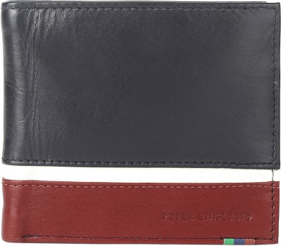 Peter England Men Red, Black Genuine Leather Wallet(4 Card Slots)
