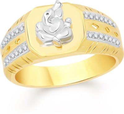 VK Jewels Ganesha Alloy Cubic Zirconia 18K Yellow Gold Plated Ring