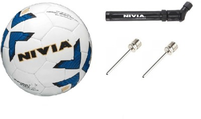 Nivia Combo of Three, One Shining Star Football, One Ball Pump and 2 Needle Football - Size: 5(Pack of 1, Multicolor)  available at flipkart for Rs.1099