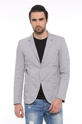 Showoff Solid Single Breasted Casual Men Blazer(Grey)  available at flipkart for Rs.2399