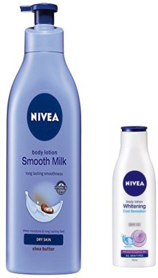 Nivea SMOOTH MILK BODY LOTION 400 ML+ WHITENING COOL SENSATION SPF 15 BODY LOTION 75 ML(400 ml)  available at flipkart for Rs.590
