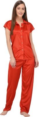 Fabme Women Solid Red Top & Pyjama Set