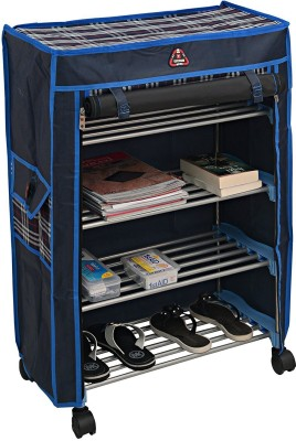 Uberlyfe 4 Shelf Shoe Rack With Cover Space Saving Shoe Storage Organizer Shoe Shelf / Shoe Cabinet - ( CP-1595-TRDYRK-4SF-A ) Steel Collapsible Shoe Stand(Multicolor, 4 Shelves)