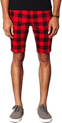 Stripz Checkered Men's Red Chino Shorts, Regular Shorts, Night Shorts, Basic Shorts, Cargo Shorts, Denim Shorts  available at flipkart for Rs.249