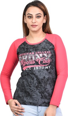 69GAL Printed Women Round Neck Black T-Shirt Flipkart