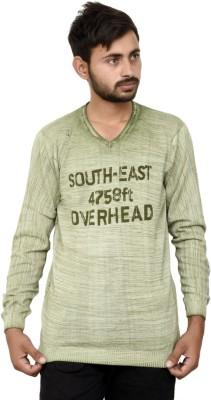 JG FORCEMAN Printed Men V-neck Denim Beige, Green T-Shirt