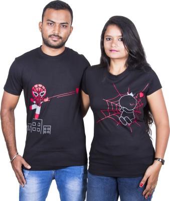 indian aurochs Printed Men & Women Round Neck Black T-Shirt(Pack of 2)