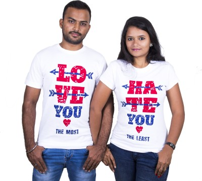 Indian Aurochs Printed Men & Women Round Neck White T-Shirt(Pack of 2)