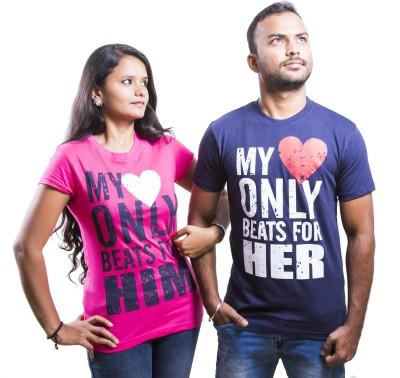indian aurochs Printed Men & Women Round Neck Dark Blue T-Shirt(Pack of 2)