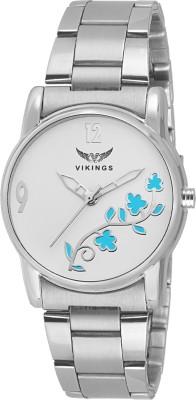 VIKINGS VIKINGS-LADIES-030-WHT-BLU-FLOWER-CHN FLOWER SERIES Watch  - For Girls   Watches  (VIKINGS)