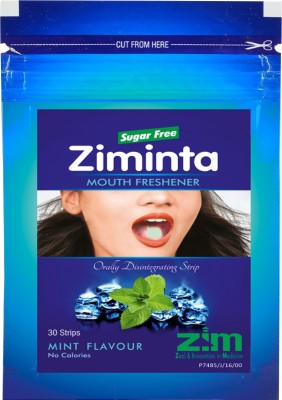 Ziminta Mouth Freshener Orally Disintegrating Strips ( Sugar Free ) - 30 Strips (Mint Flavour) - Pack Of 2 Strip(20 g)