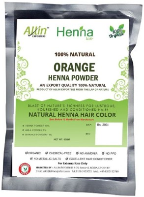Allin Exporters Orange Henna Hair Color – 100% Organic and Chemical Free Henna for Hair Color Hair Care - ( 60 Gram = 1 Packet)(60 g)