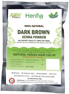 Allin Exporters Dark Brown Henna Hair Color – 100% Organic and Chemical Free Henna for Hair Color Hair Care - ( 180 Gram = 3 Packet)(180 g)