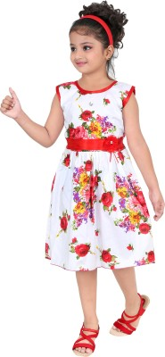Unique Collection Girls Midi/Knee Length Casual Dress(White, Sleeveless)