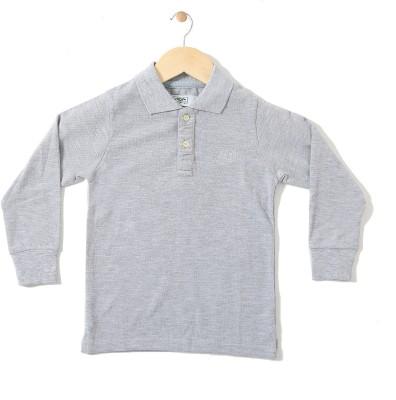 Chimprala Boys Solid Cotton Polyester Blend T Shirt(Grey 53eb86aac96dd