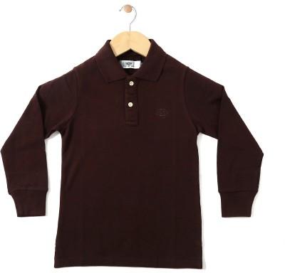 Chimprala Boys Solid Cotton Polyester Blend T Shirt(Brown abb027a851956