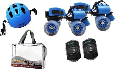 Jaspo Players Eco Blue Senior Skates Combo  skates+helmet+knee+bag suitable for age 6 to 14 years Skating Kit