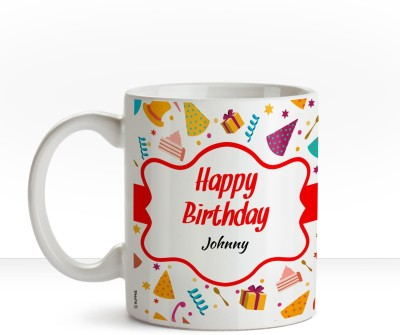Huppme Happy Birthday Johnny name coffee mug Ceramic Mug(350 ml)