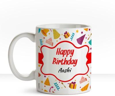 Huppme Happy Birthday Aashi Inner Black coffee name mug Ceramic Mug(350 ml)