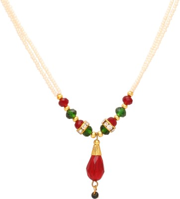DzineTrendz Pearl Beaded Ethnic Rani Haar choker necklace for Women Girls Pearl Stone Necklace  available at flipkart for Rs.499