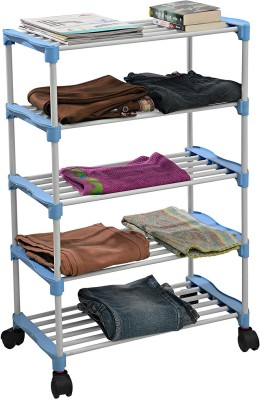 Uberlyfe Shoe/Clothes/Books Rack 5 Shelves multipurpose with Wheels (CP-1600-SMRTRK-5SF-A Steel Collapsible Shoe Stand(Multicolor, 5 Shelves)