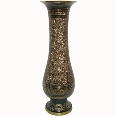225 & Skywalk HAND CRAFTED METAL BRASS FLOWER VASE WITH BIDRI NAKKASHI WORK COLLECTIBLE ARTPERFECT FOR HOME DECORATION AND GIFTING Brass Vase(11 inch ...