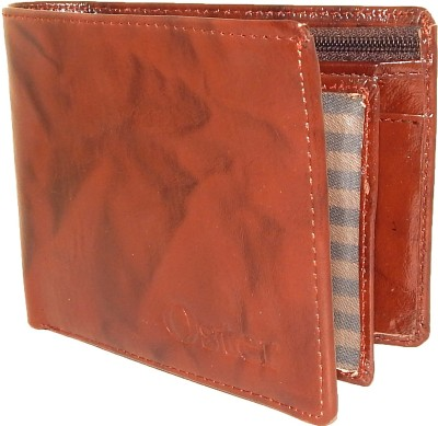 Oster Men Brown Genuine Leather, Fabric Wallet(6 Card Slots)
