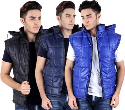 Kritika's World Sleeveless Solid Men Quilted Jacket at flipkart