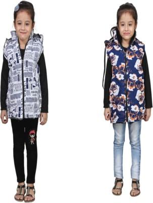 Crazeis Sleeveless Printed Girls Jacket