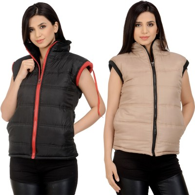 Candy House Sleeveless Solid Women Jacket at flipkart