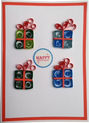 Varsha Creations Handmade Happy Birthday Greeting Card - Colourful Gift Boxes, 21x15 Cm with Free Heart Shape Quilling Keychain Greeting Card(Blue and Green, Pack of 1)  available at flipkart for Rs.285