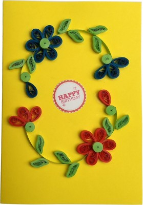Varsha Creations Handmade Happy Birthday Greeting Card - Colourful Flowers, 21x15 Cm with Free Heart Shape Quilling Keychain Greeting Card(Yellow, Pack of 1)  available at flipkart for Rs.285