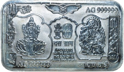 Kataria Jewellers Lakshmi Ganesha S 999 10 g Silver Coin Kataria Jewellers Coins   Bars