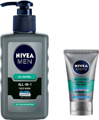 Nivea MEN ALL-IN-1 FACE WASH 150 ML + MEN OIL CONTROL FACE WASH 100 GM. Face Wash(150 ml)