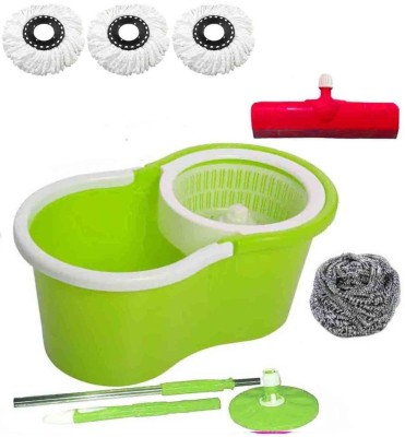 CREZON Magic Spin Cleaner Mop with 3 microfibers with steel scrub with Floor Wiper ((RANDOM COLOR SEND GREEN, PINK, BLUE, RED)) Home Cleaning Set  available at flipkart for Rs.990