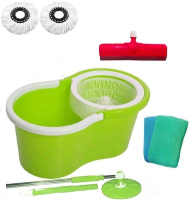 CREZON Magic Spin Cleaner Mop with 2 microfibers with 2 scrub with Floor Wiper ((RANDOM COLOR SEND GREEN, PINK, BLUE, RED)) Home Cleaning Set  available at flipkart for Rs.990